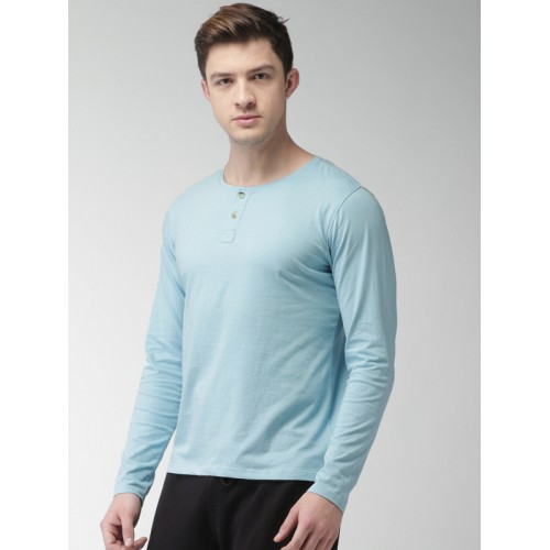 Mast & Harbour Men Blue Solid Henley Neck T-shirt