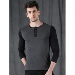 WROGN Men Charcoal Grey & Black Solid Henley Neck T-shirt