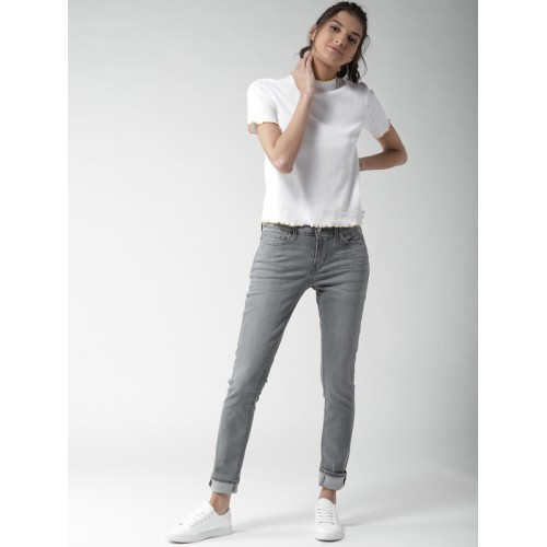Levis Women Grey Skinny Fit Mid-Rise Clean Look Stretchable Jeans 711