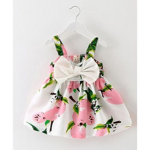 Awabox Fruit Print Big Bow Strap Dress - Pink