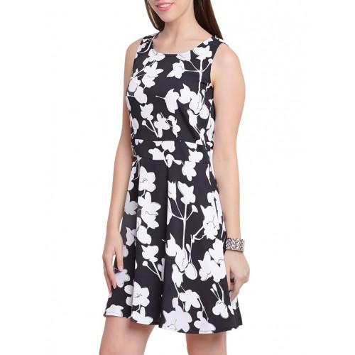 WISSTLER black poly crepe skater dress