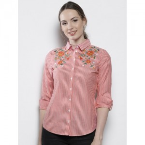 DOROTHY PERKINS Women Red & White Regular Fit Striped Casual Shirt