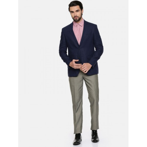 Peter England Navy Single-Breasted Neo Slim Fit Formal Linen Blazer