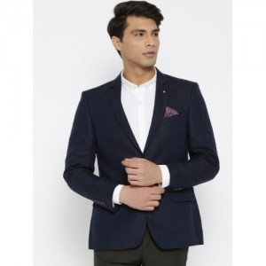 Arrow Navy Blue Regular Fit Single-Breasted Linen Formal Blazer