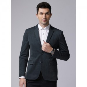 True Blue Men Navy Self-Design Smart Casual Blazers