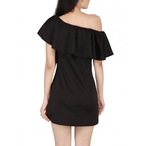 SMISINGBEE black rayon ruffle dress