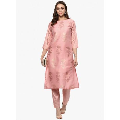 Ziyaa Pink Woven Kurta Pants Set