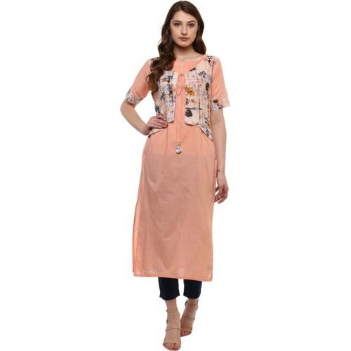 Ziyaa Women Printed Straight Kurta(Orange)