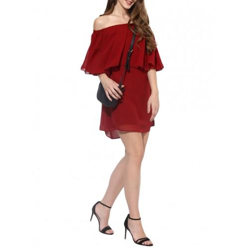 511a81ee515a Buy Besiva maroon off shoulder dress online
