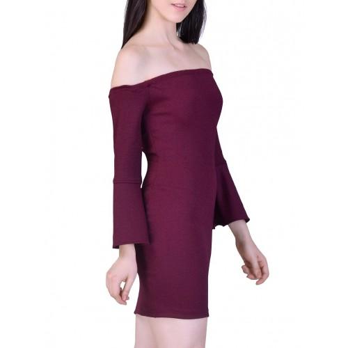 MARTINI maroon poly lycra bodycon dress
