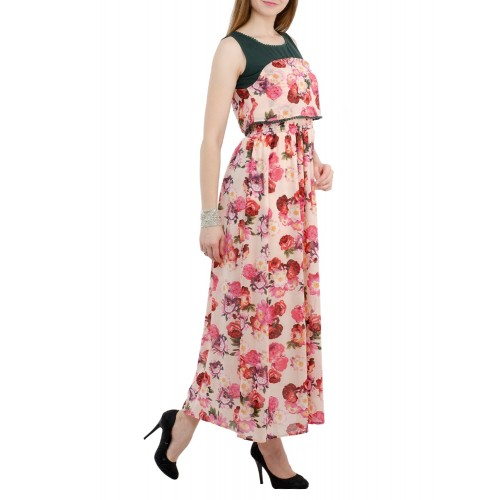 SWADESI INDIA pink floral maxi dress