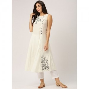 All About You Cream Embroidered A Line Kurta