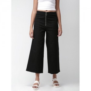 FOREVER 21 Women Black Regular Fit Solid Bootcut Trousers