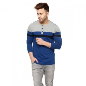 Gritstones Blue and Grey Full Sleeve Henley T-Shirt