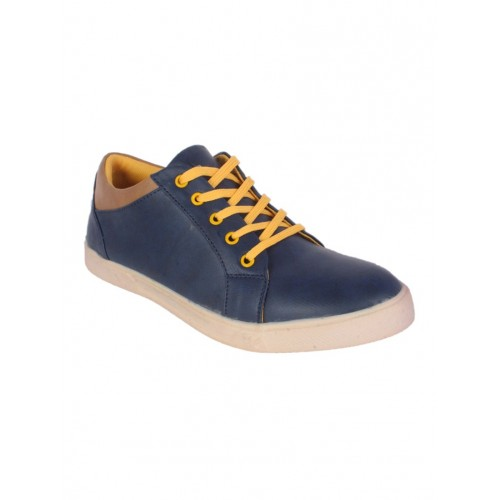 1AAROW blue leatherette lace up sneaker