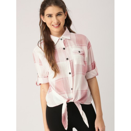 DressBerry Women Pink & White Checked Shirt Style Top