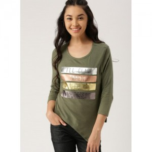 Dressberry Olive Printed T Shirt