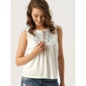 DressBerry Women White Solid Embroidered Top