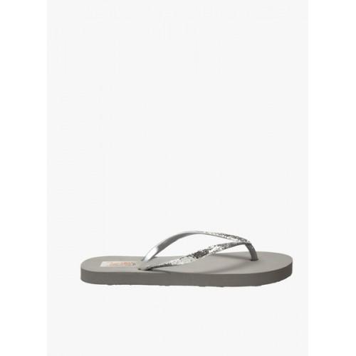 Zachho Grey Rubber Slip-on Flat Flip Flops