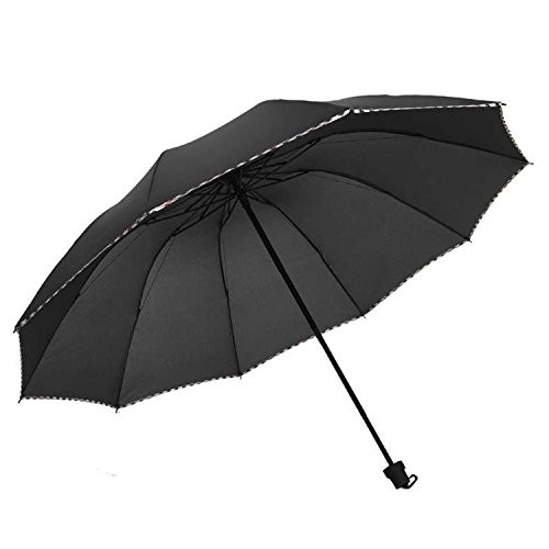 KEKEMI 3 Fold Plain Pipine Umbrella for Men & Women (Black)