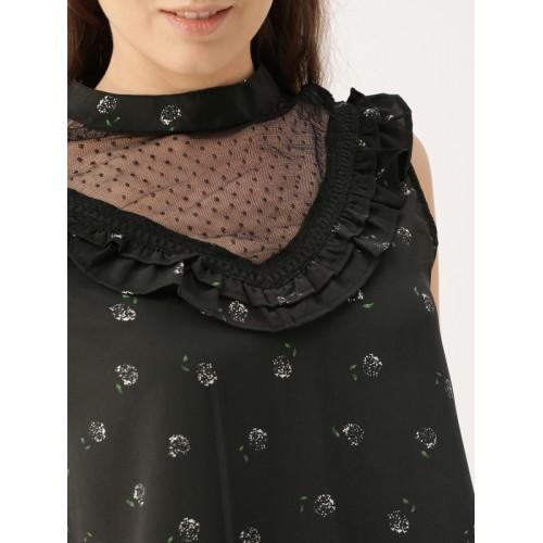 DressBerry Women Black Printed Top