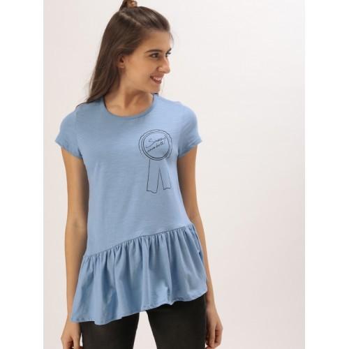 DressBerry Women Blue Printed Peplum Top