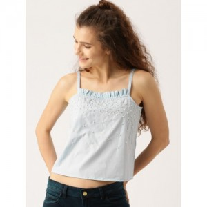 DressBerry Women Blue Embellished A-Line Top