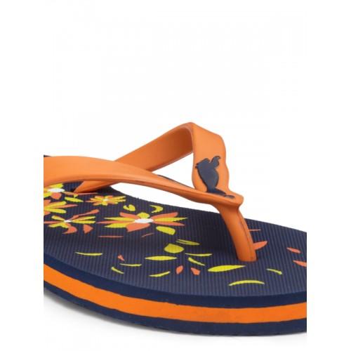 Puma Women Navy Blue & Orange Floral Print Thong Flip-Flops