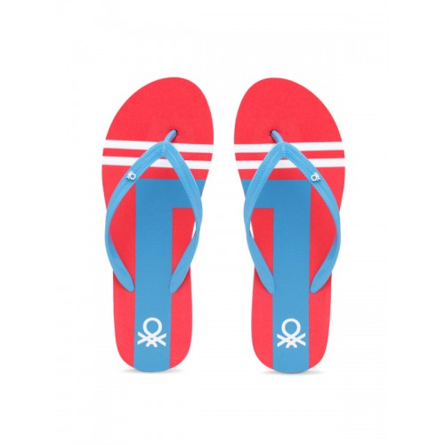 United Colors of Benetton Women Blue & Red Printed Thong Flip-Flops