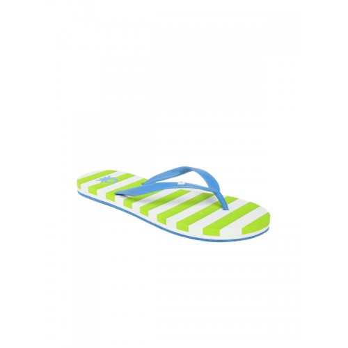 United Colors of Benetton Women Blue & Lime Green Striped Flip-Flops