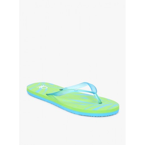 United Colors of Benetton Women Blue & Green Printed Thong Flip-Flops