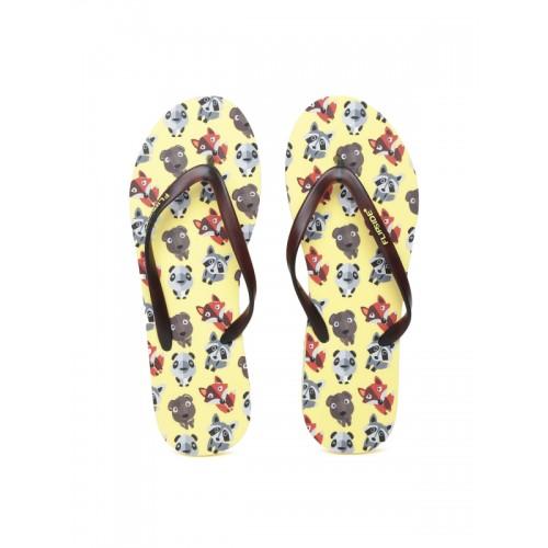 Flipside Women Brown & Yellow Printed Flip-Flops