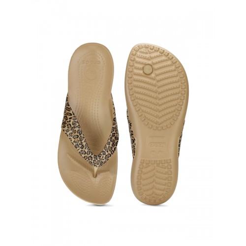 Crocs Women Brown Animal Print Flip-Flops