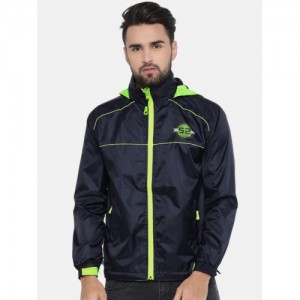 Sports52 wear Navy Blue & Green Hooded Rain Jacket
