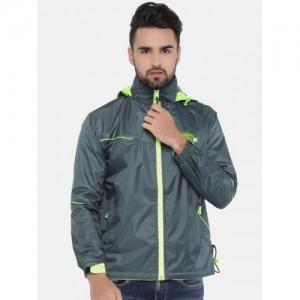 Sports52 wear Grey & Fluorescent Green Hooded Rain Jacket