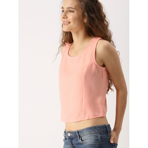 DressBerry Women Peach-Coloured Solid Crop Top