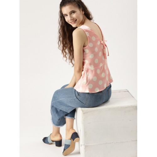 0a0e9f876ae8a ... Top  DressBerry Women Peach-Coloured   Off-White Polka Dot Print Styled  Back ...