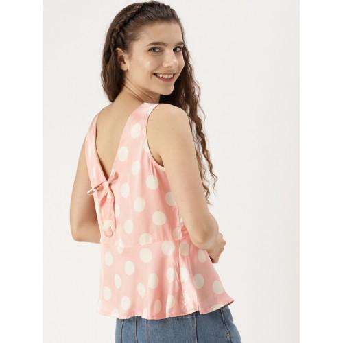 5d8fc9c8cf3373 DressBerry Women Peach-Coloured   Off-White Polka Dot Print Styled Back Top  ...