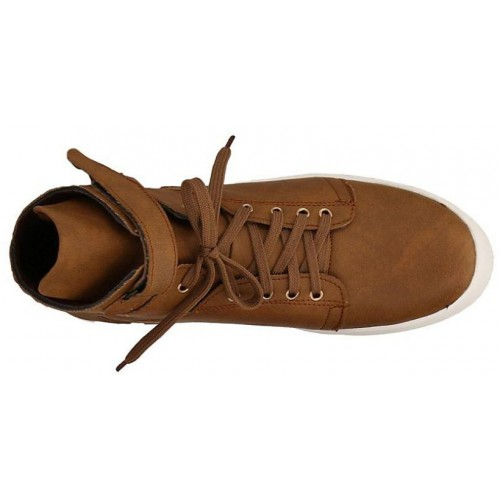 Aadi brown leatherette lace up sneaker