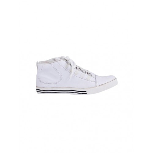 Butchi Men's White Synthetic Leather Sneakers