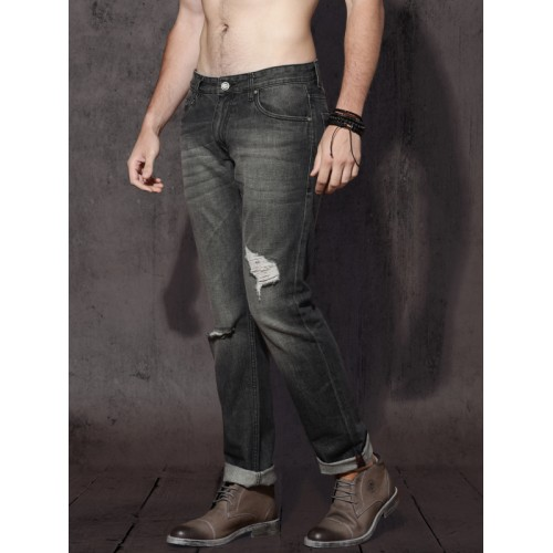 077128a5129 ... Roadster Men Black Slim Fit Mid-Rise Mildly Distressed Jeans ...