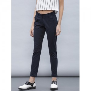 ether Women Navy Blue Solid Flat-Front Trousers