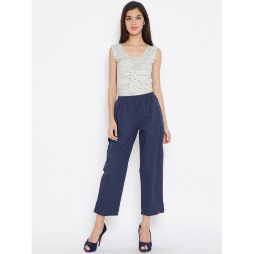 Biba Women Navy Blue Regular Fit Solid Trousers