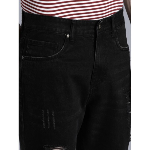 Kook N Keech Men Black Regular Fit Mid-Rise Highly Distressed Jeans