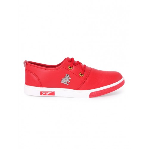 red leatherette lace up sneaker