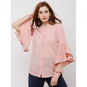 Tokyo Talkies Women Pink Regular Fit Solid Casual Shirt