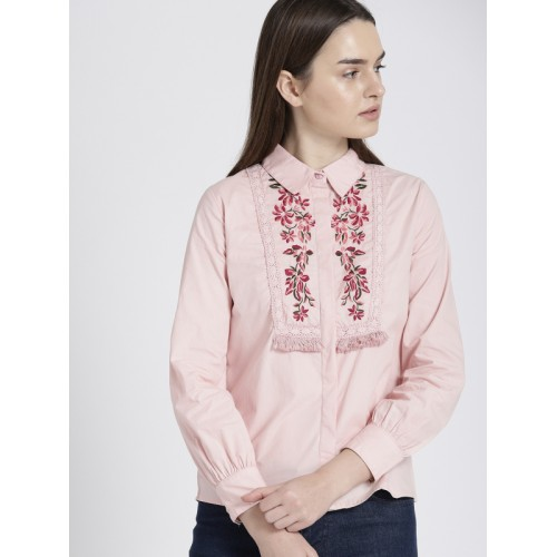 Chemistry Women Pink Regular Fit Embroidered Casual Shirt