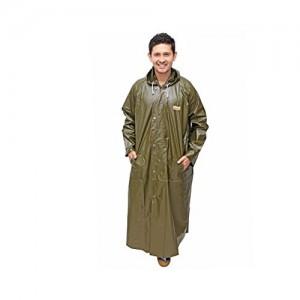 Goodluck Men's Green Nylon Raincoat/Rainwear/Rainsuit