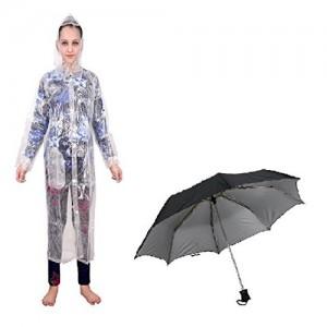 Krystle Combo of Women Transparent Raincoat and Black Umbrella