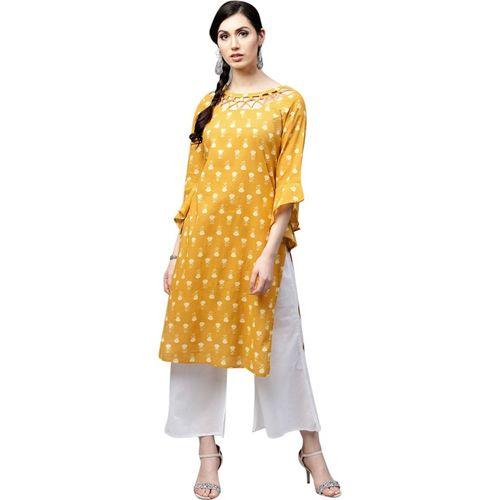 1e89f2993 Buy AKS Women Mustard Yellow   White Printed Straight Kurta online ...
